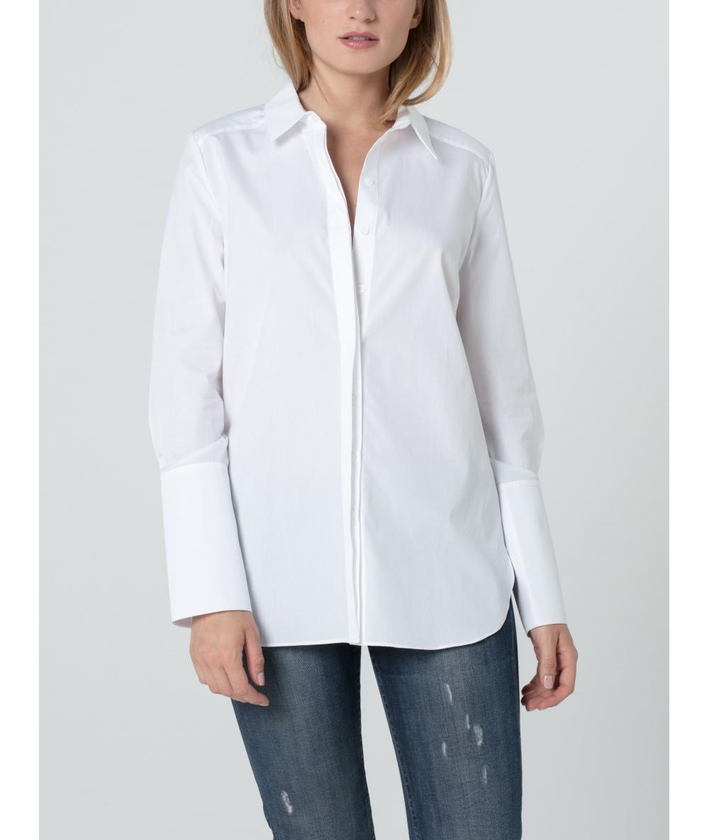 Elégante chemise Ema blanche à manche et poignets longs