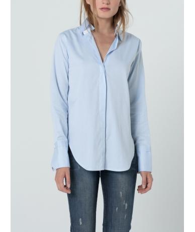 Chemise femme bleue en twill de coton