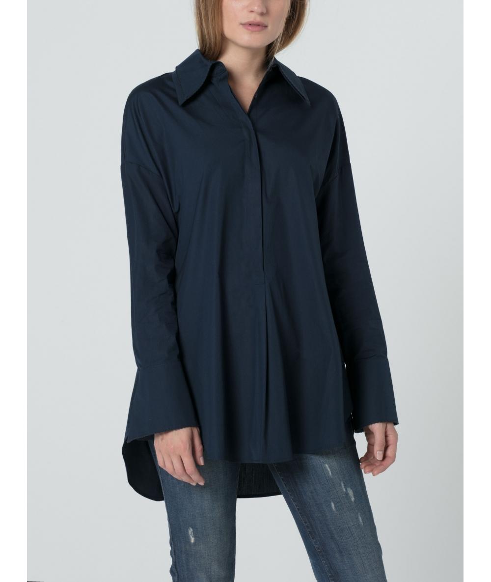 Chemise longue bleue pour femme