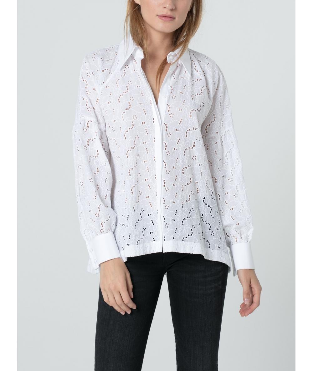 Chemise pour femme broderie anglaise et popelie de coton