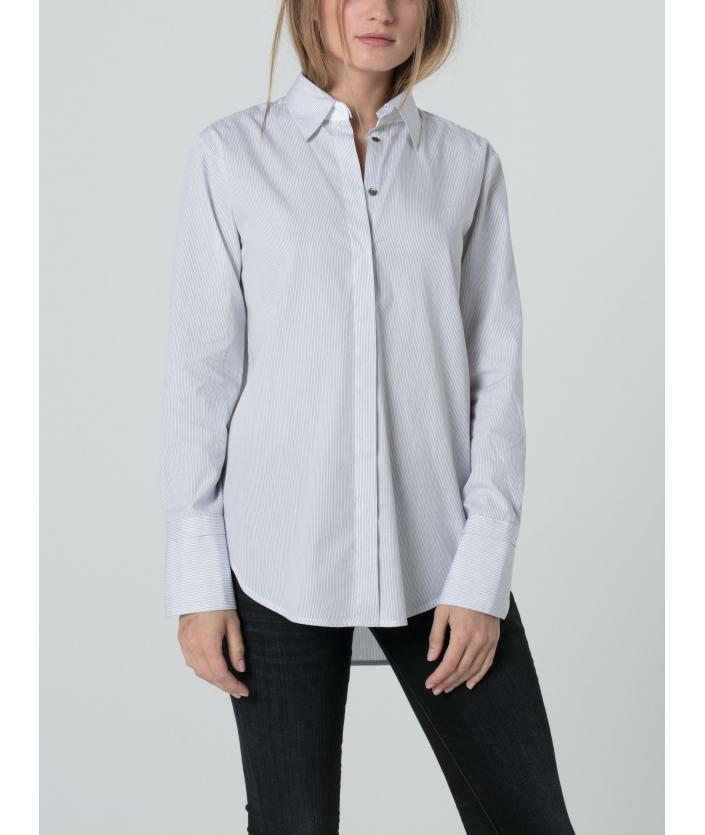 Chemise en popeline de coton rayée blanche et grise