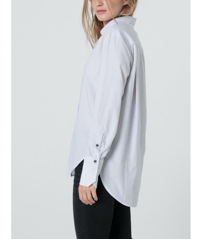 Chemise rayée blanche et grise