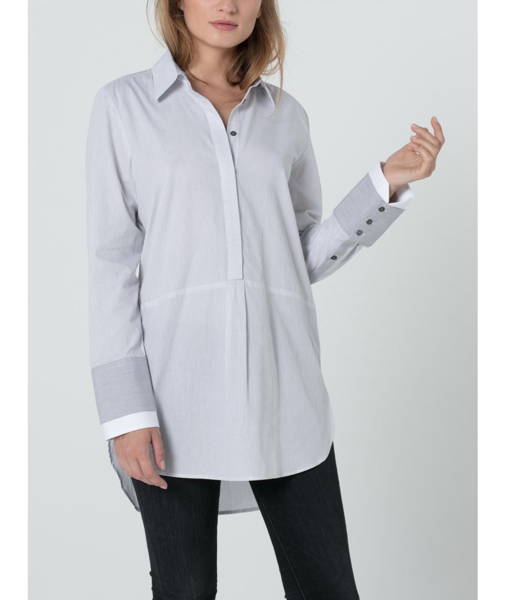 Chemise longue en popeline de coton rayée blanche et grise
