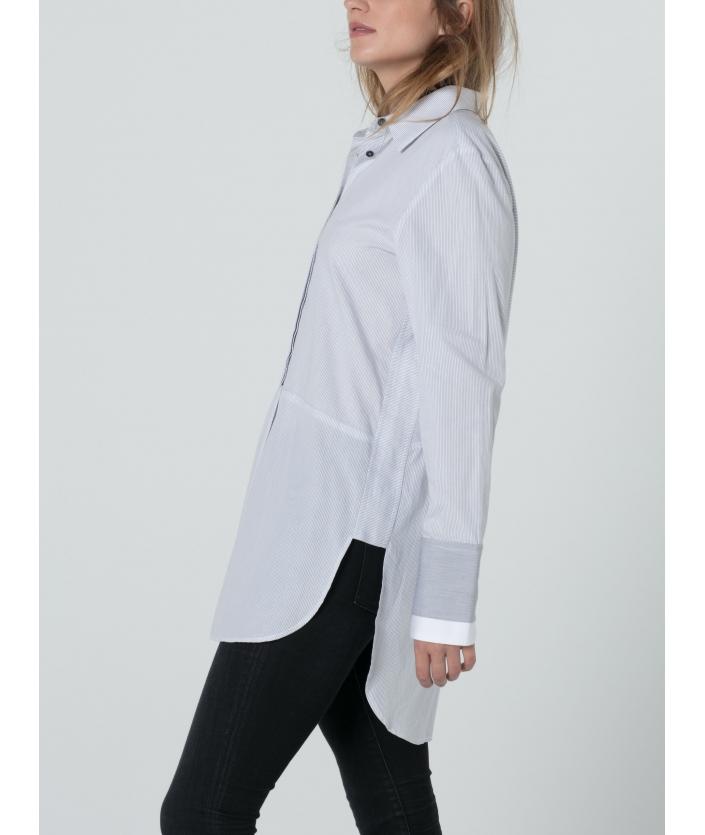 Chemise longue rayée blanche et grise