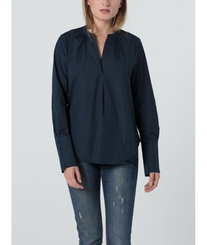 Blouse bleu nuit pour femme en voile de coton