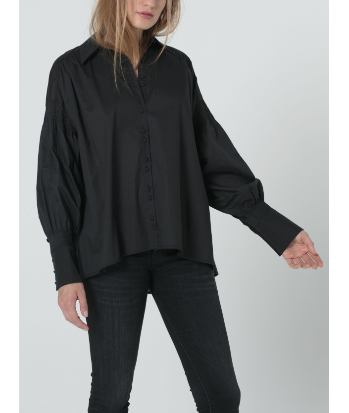 Chemise noire pour femme en voile de coton