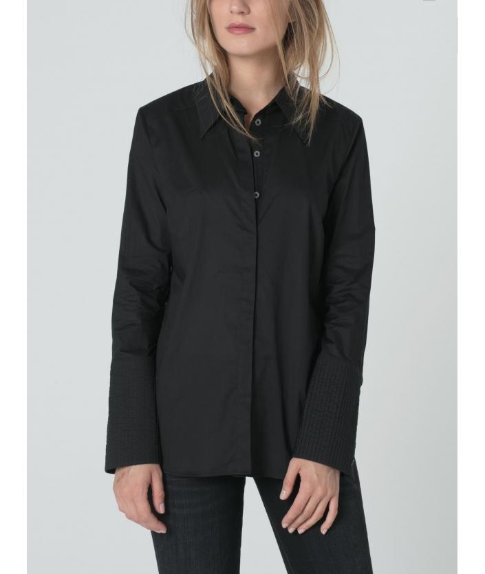 Chemise femme noire longue en voile de coton