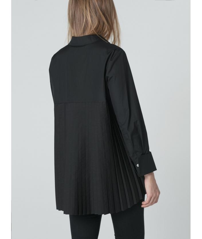 Chemise noir en popeline de coton et plissée