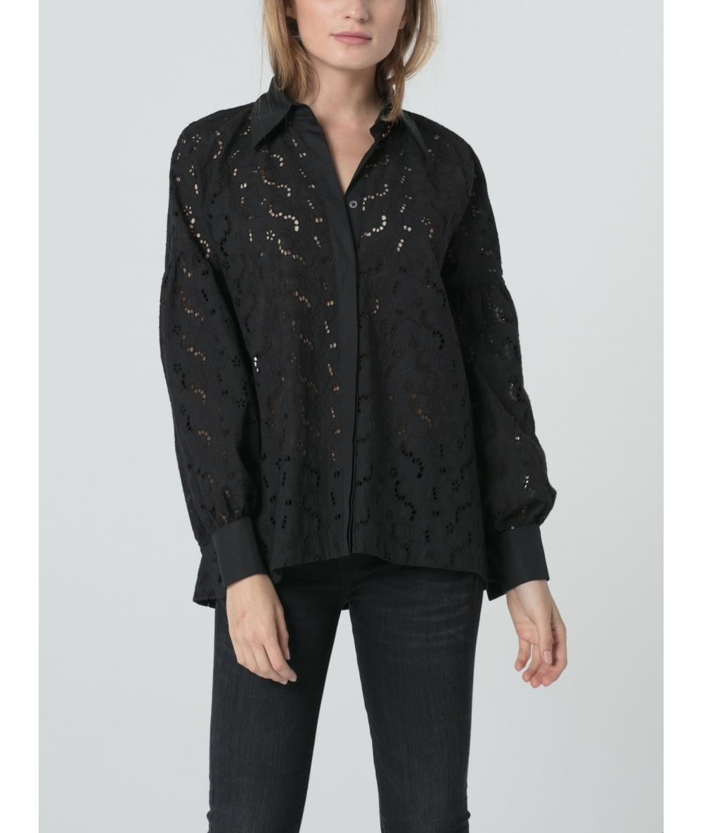 Chemise noire pour femme en broderie anglaise et popelie de coton