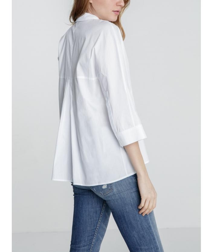 Chemise femme blanche manches 3/4 de créateur