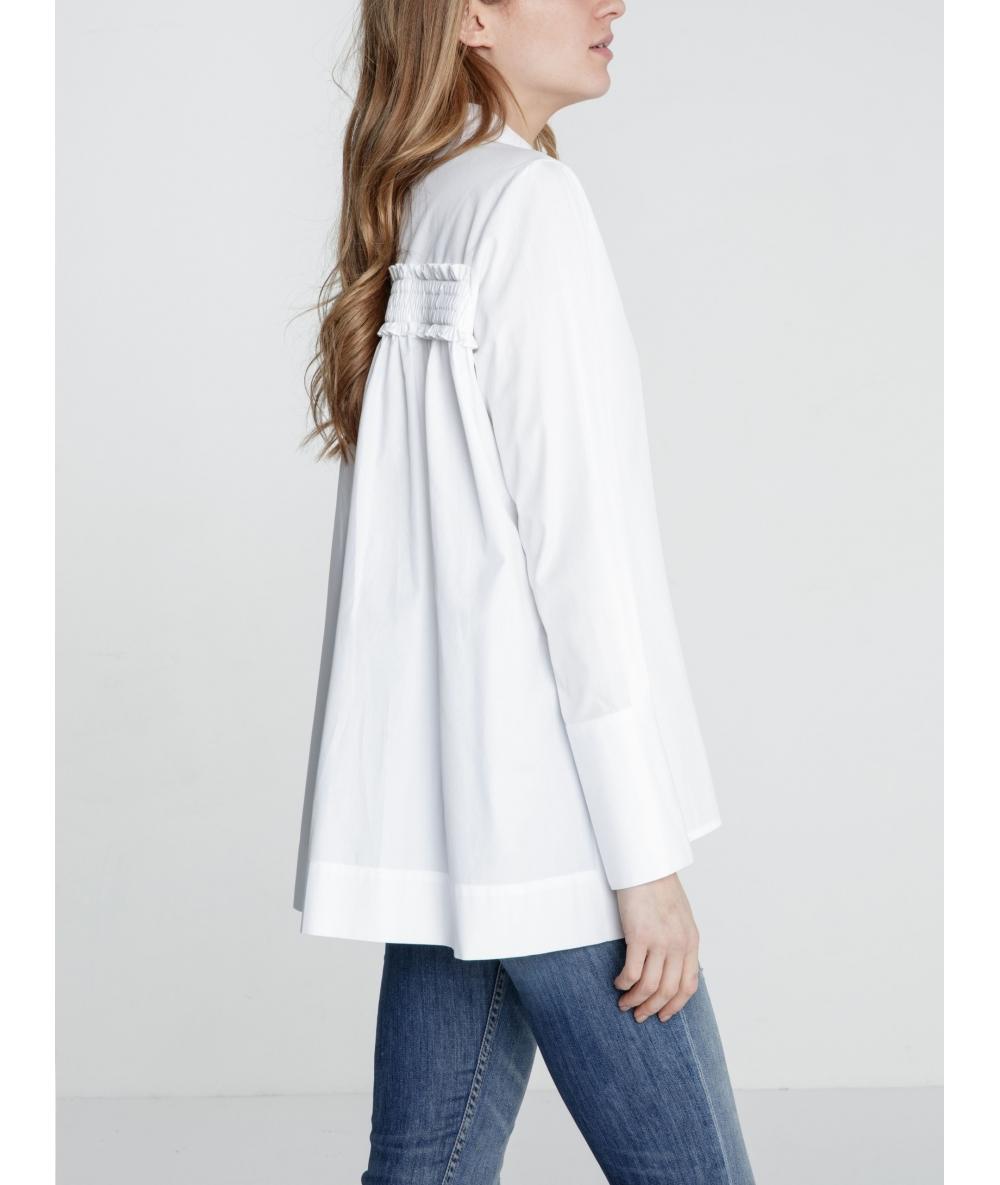 Chemise blanche droite pour femme Tomae popeline de coton