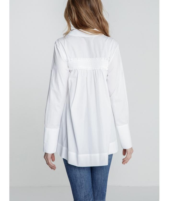 Chemise blanche droite popeline de coton