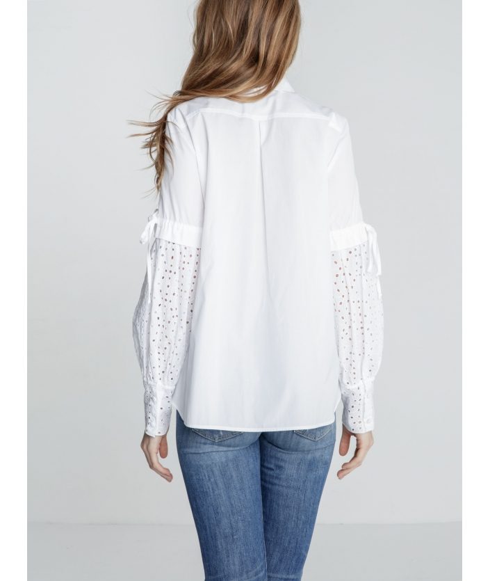 Chemise blanche en broderie anglaise