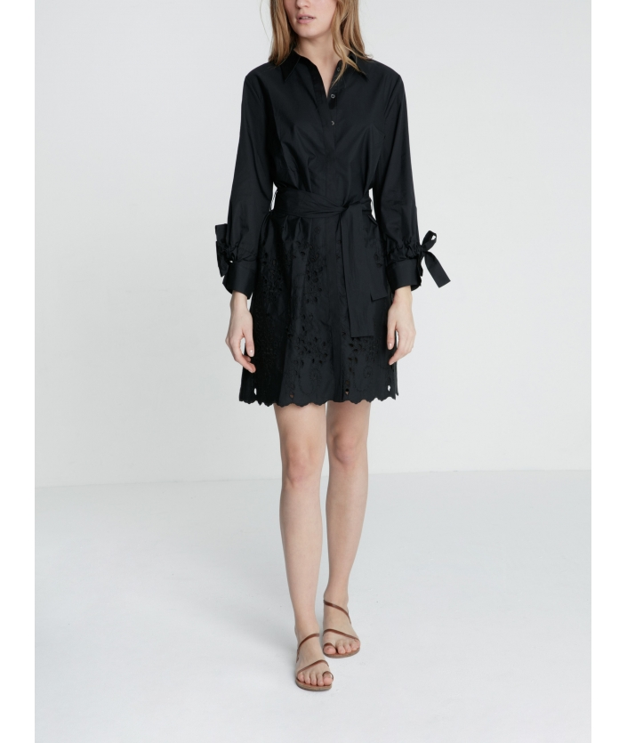 Robe chemise Enaki noire popeline de coton et broderie anglaise