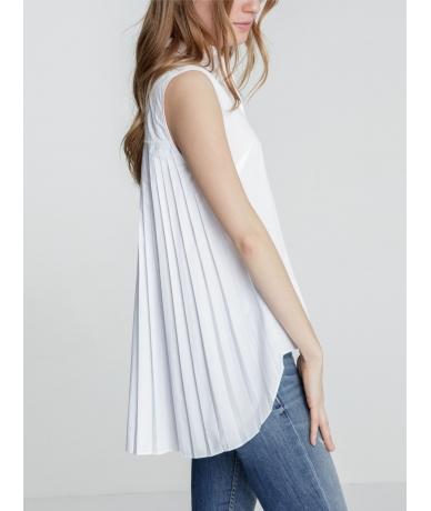 Chemise blanche manche courte plissée dans le dos