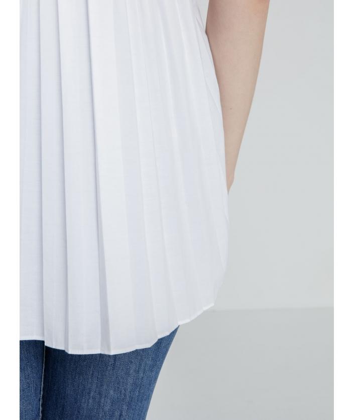 Chemise de créateur manche courte plissée dans le dos