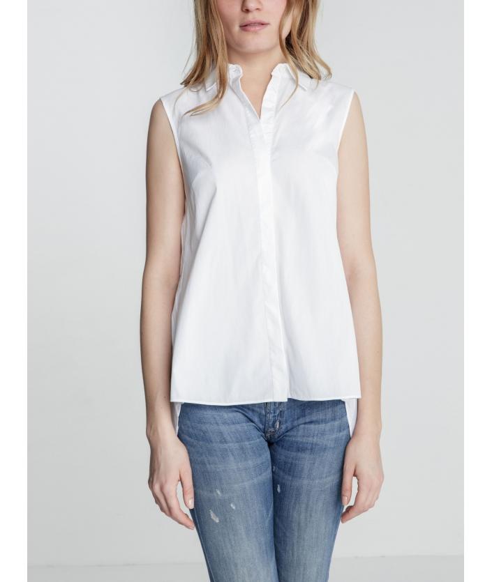 Chemise femme manche courte plissée dans le dos