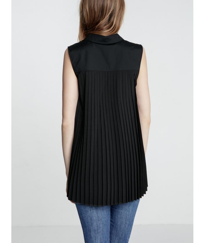 Chemise femme noire avec pliss dans le dos