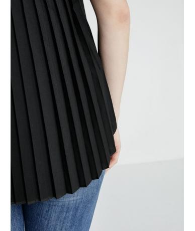 Chemise femme manche courte plissée