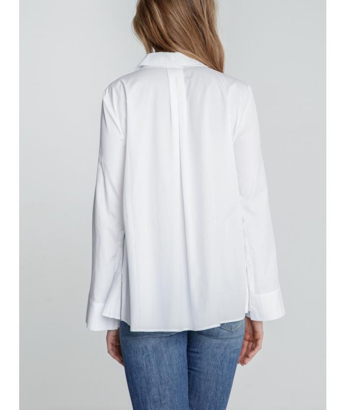 Chemise blanche femme en popeline plissé