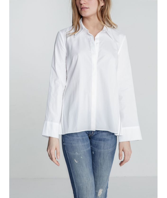Chemise femme popeline plissé