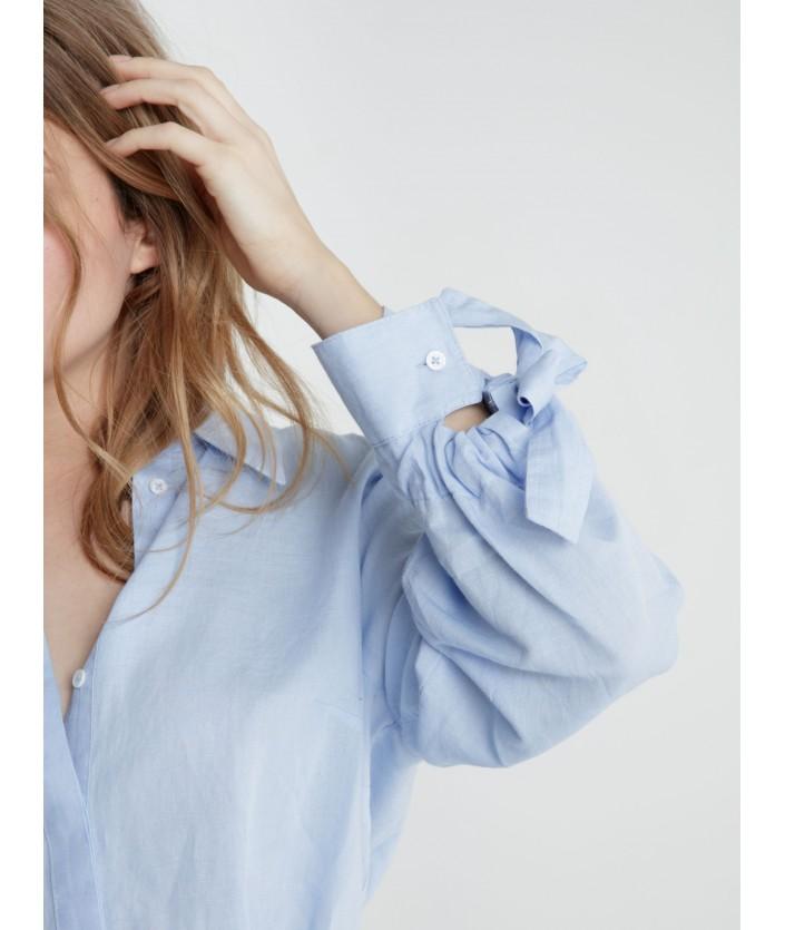 Robe chemise Litchi - BLEU