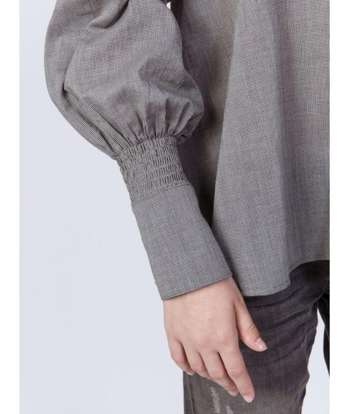 Blouse voile de coton couleur carbone