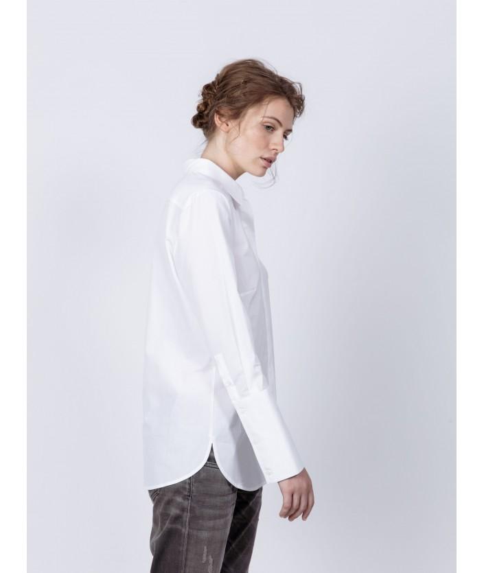 Chemise en popeline de coton : chemise EMA blanche avec longs poignets