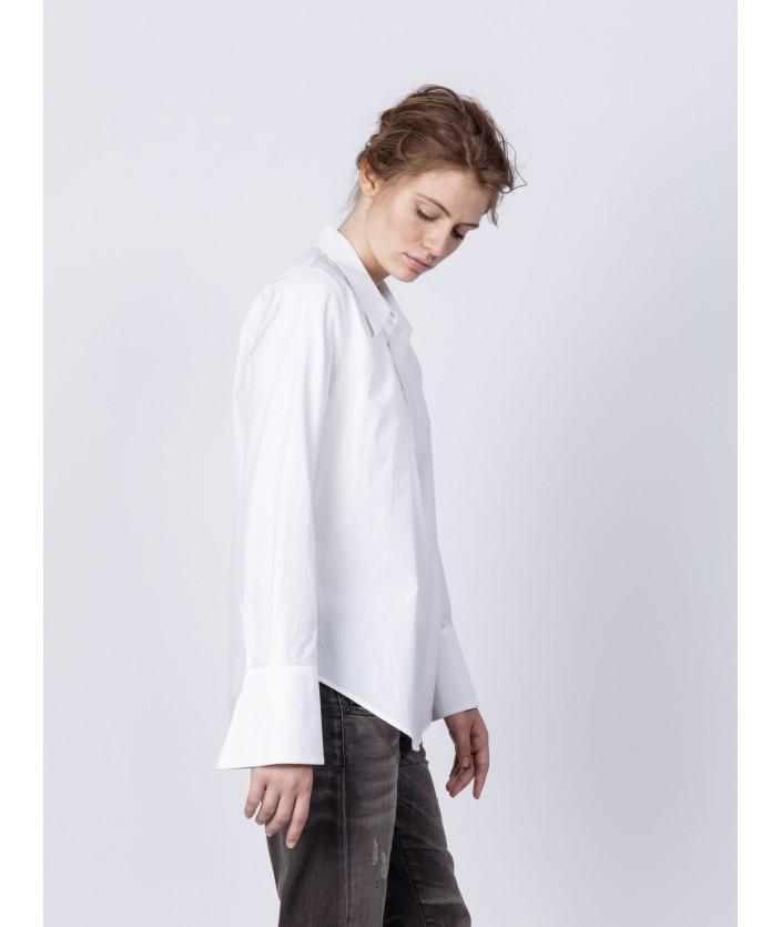 Chemise en popeline de coton col ouvert avec fronces chemise Biba