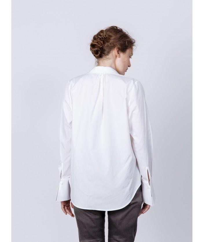 Chemise en popeline de coton blanche