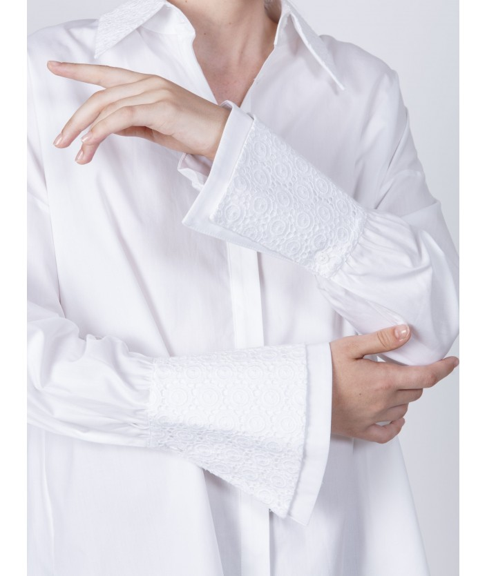 Chemise femme broderie anglaise Fuku blanche