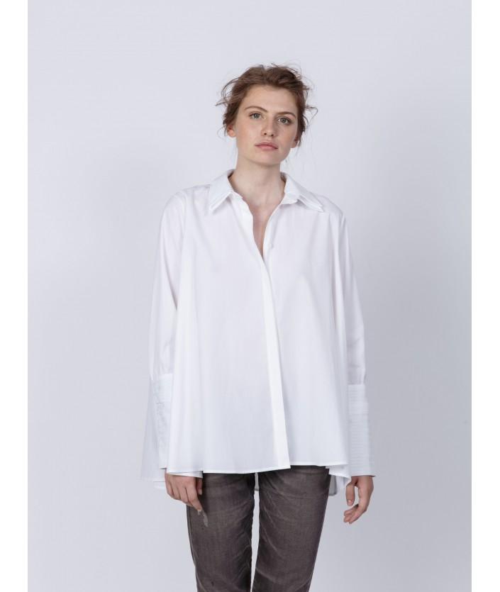Chemise femme en popeline de coton et twill de coton rayé ton sur ton