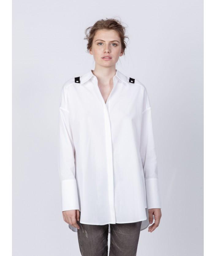 Chemise femme avec bretelles amovibles - chemise en popeline de coton