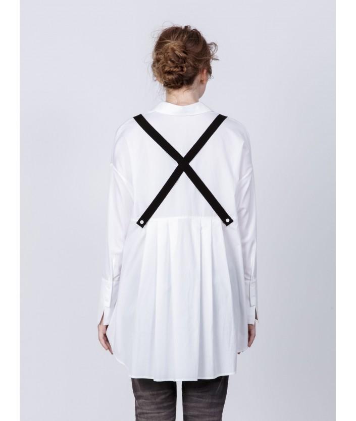 Chemise Mizu blanche avec bretelles amovibles - chemise en popeline de coton