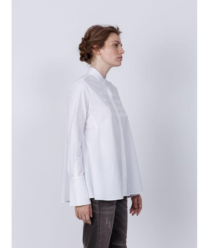 Chemise en popeline de coton stretch avec col mao - chemise Tibari