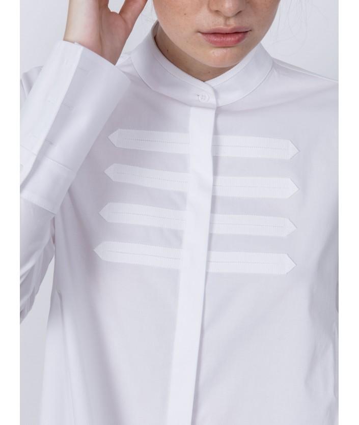 Chemise femme stretch avec col mao