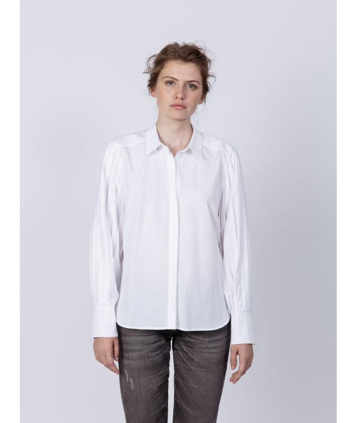 Chemise femme avec manches plisée en popeline - chemise Risuki