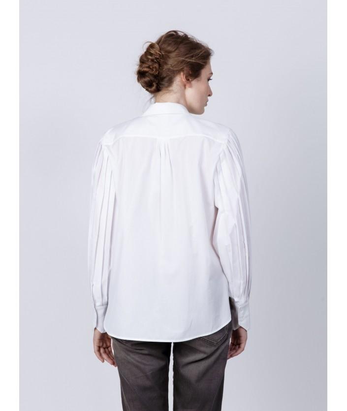 Chemise femme avec manches plisée en popeline