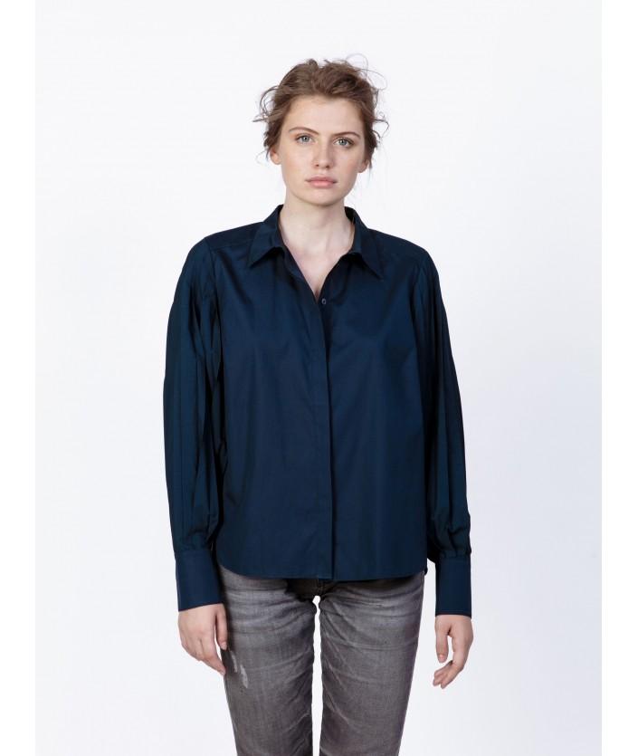 Chemise femme bleue avec manches plissée - chemise de créateur Risuki