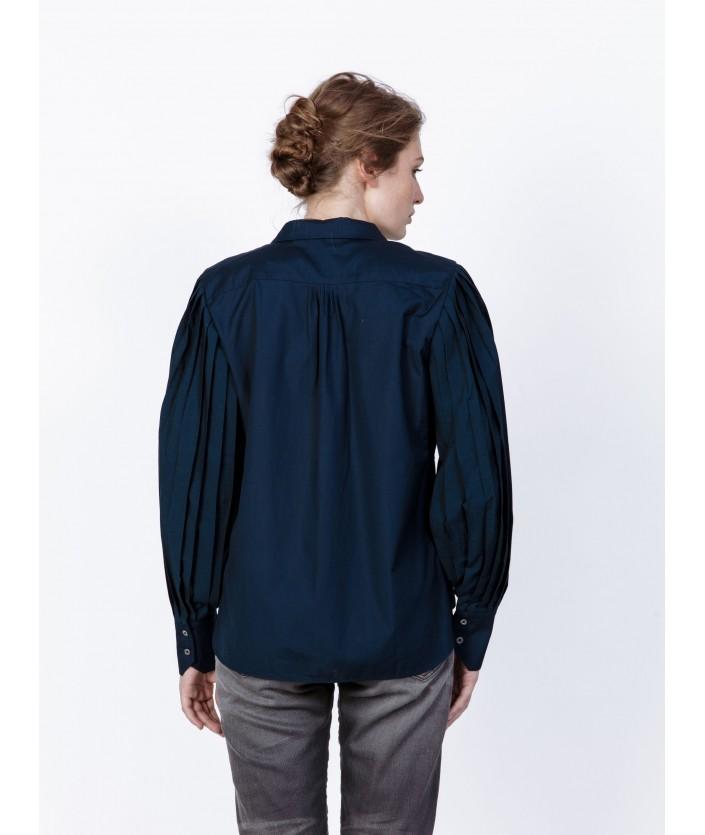 Chemise femme bleue avec manches plissée