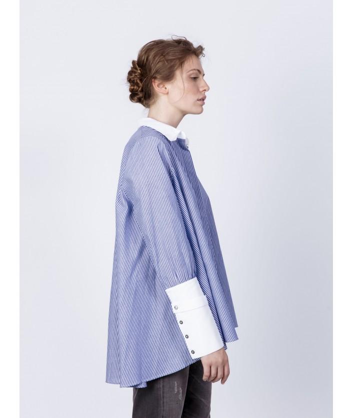 Chemise femme en twill de coton rayé bleu et blanc - chemise luxe