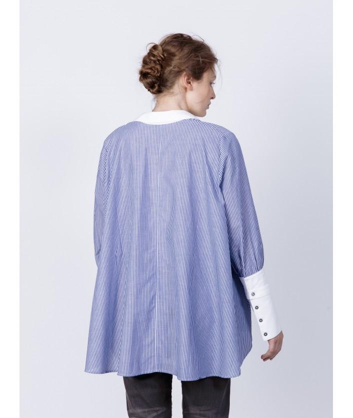 Chemise femme en twill de coton rayé bleu et blanc