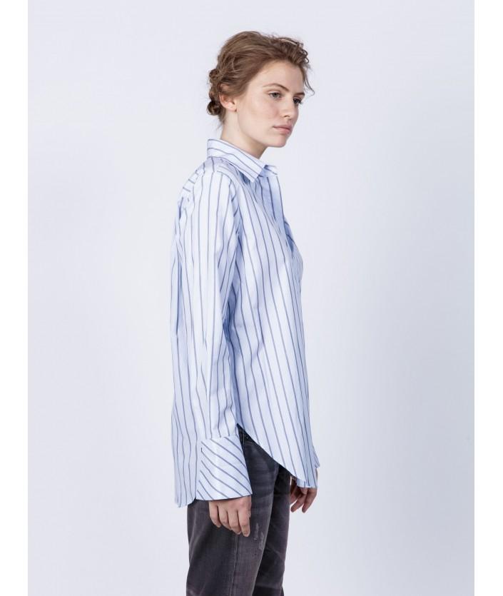 Chemise Hida femme haut de gamme : popeline de coton rayé bleu et gris