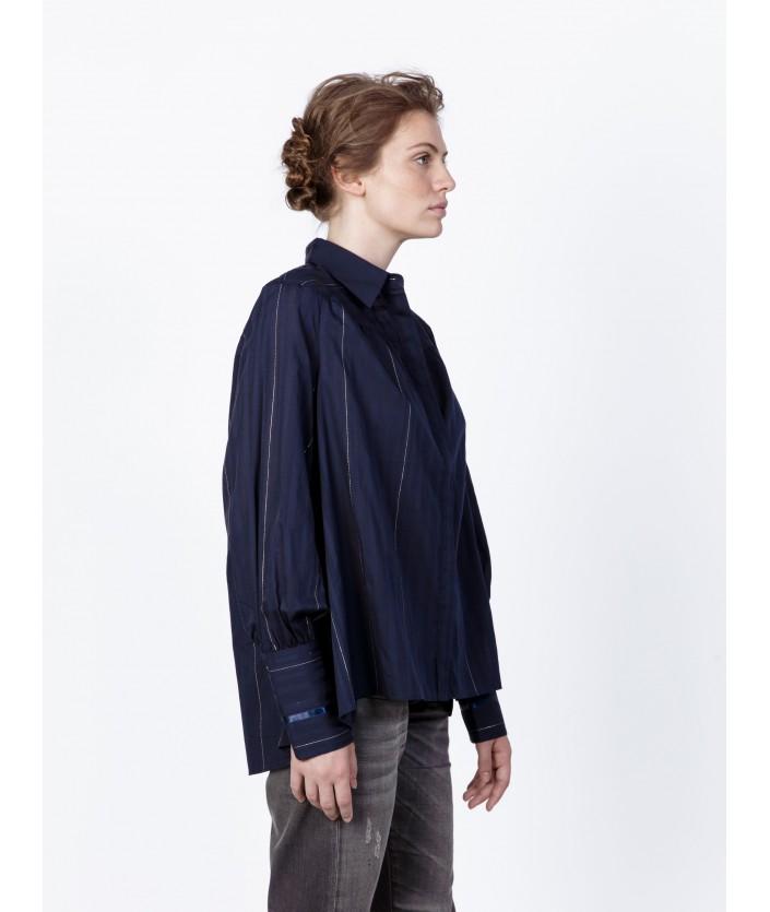 Chemise luxe bleue nuit en voile de coton ton sur ton