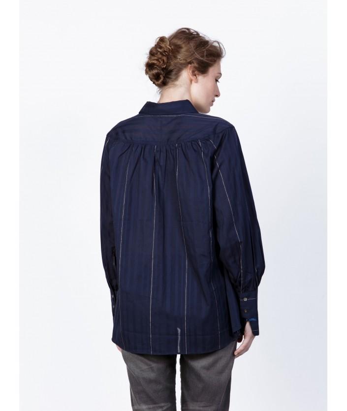 Chemise luxe bleue nuit en voile de coton