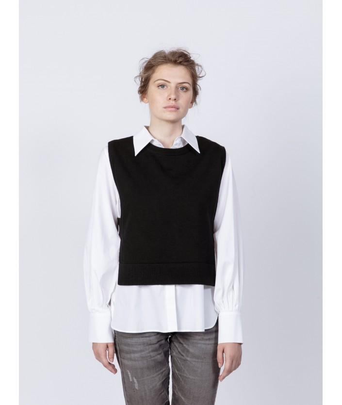 Pull débardeur en laine mérinos col rond - pull de créateur pour femme