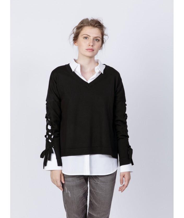 Pull femme en laine mérinos Col V, manches longues lacées - pull Narita