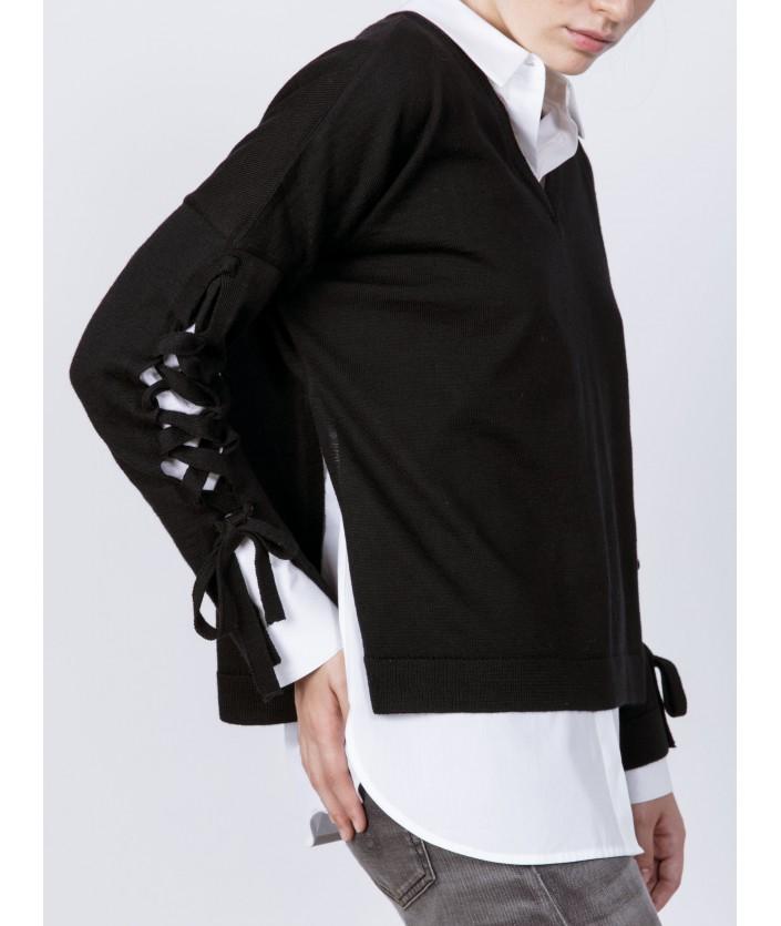 Pull femme en laine mérinos Col V - pull Narita