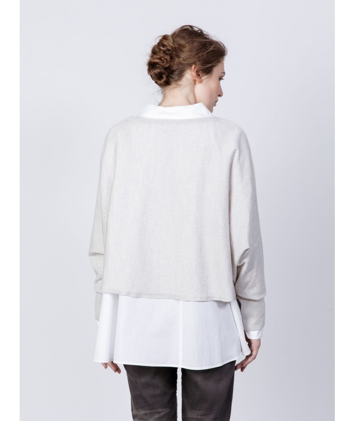 pull beige laine mérinos col rond
