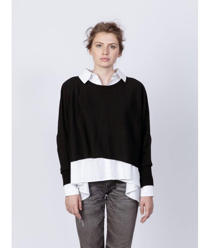Pull femme de luxe : pull noir Sakai en laine mérinos à col rond
